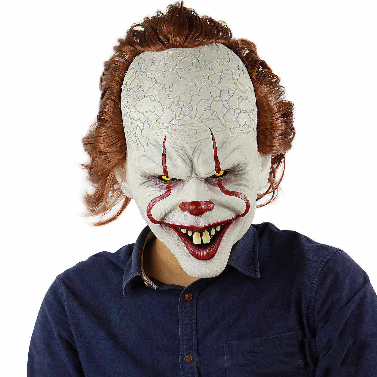 Stephen King's Maschera Pennywise Horror Clown Joker Maschera In Lattice di Halloween Spaventoso Maschera Da Clown Partito Realistico Costume Cosplay Puntelli