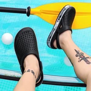 Мужские сандалии с эффектом памяти, пляжные шлепанцы черного и синего цвета из вспененного этилвинилацетата, для летнего сезона