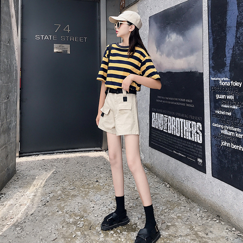 Women's Overalls Straight 2020 Spring And Summer New Were Thin And Loose Wild High Waist Wide Leg European Cargo Shorts Album