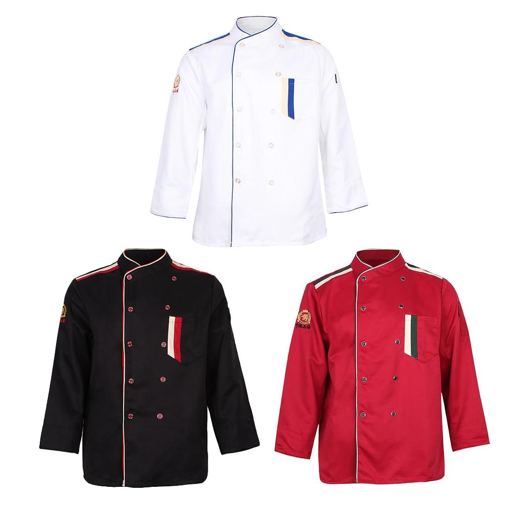 Women Men Long Sleeve Chef Jackets Restaurant Hotel Workwear  Coat Short Sleeves Shirt Kitchen Uniforms