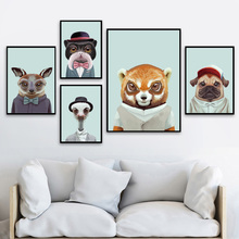 Cartoon Fashion Fox Dog Cat Ostrich Nordic Posters And Prints Wall Art Canvas Painting Animals Pictures For Kids Room Decor