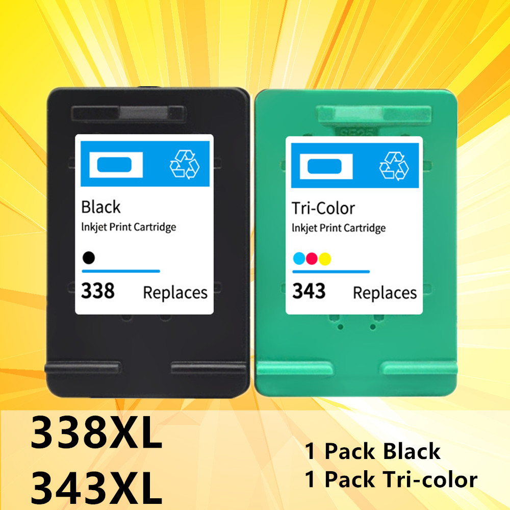 2PK For <font><b>hp</b></font> 338 343 hp338 hp343 Ink Cartridge inkjet for <font><b>hp</b></font> Deskjet 460C 5740 <font><b>6520</b></font> 6540 6840 Photosmart 8150 printer replacement image