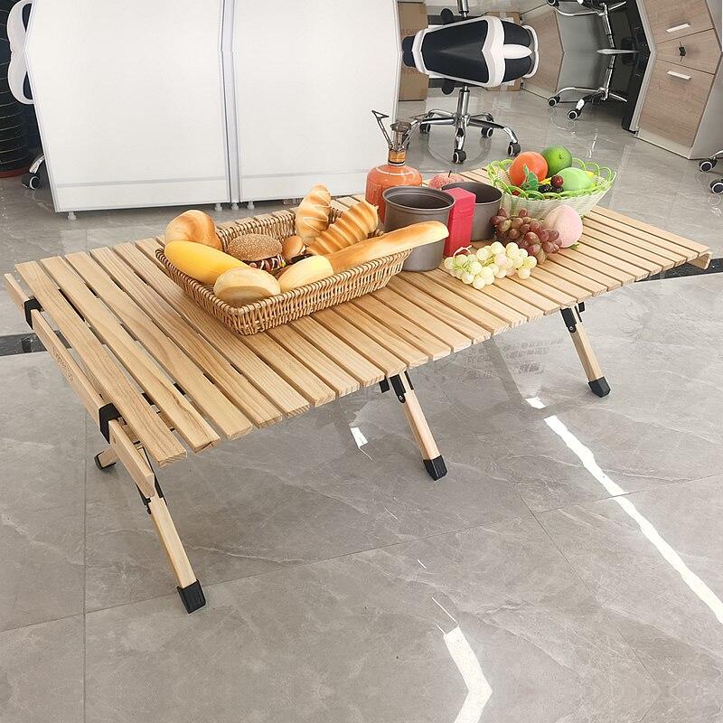 Lighten Up Table Wood Camping Egg-Roll Folding Picnic Outdoor Timber Beech Bbq-Furniture