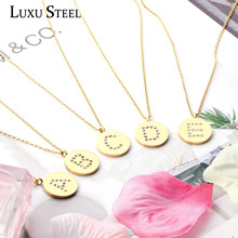 LUXUSTEEL initial necklace Collier Gold Color Letter Cubic Zirconia Pendant Necklace Collars Choker Necklace Women Party Chains