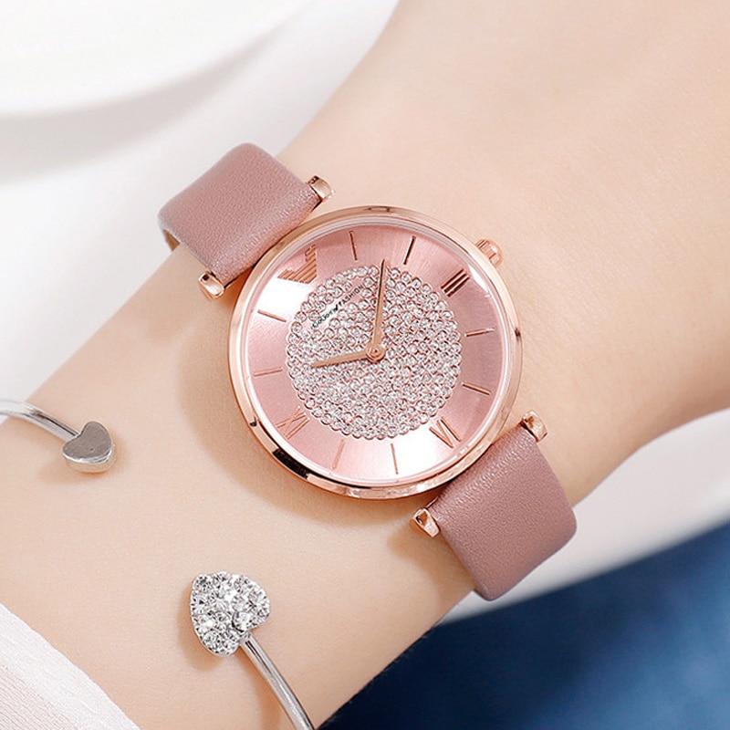 Ladies Casual Watch 2019 Women Pink Leather Strap Quartz Wristwatches Luxury Brand Women's Crystal Fashion Bracelet Clock Gift
