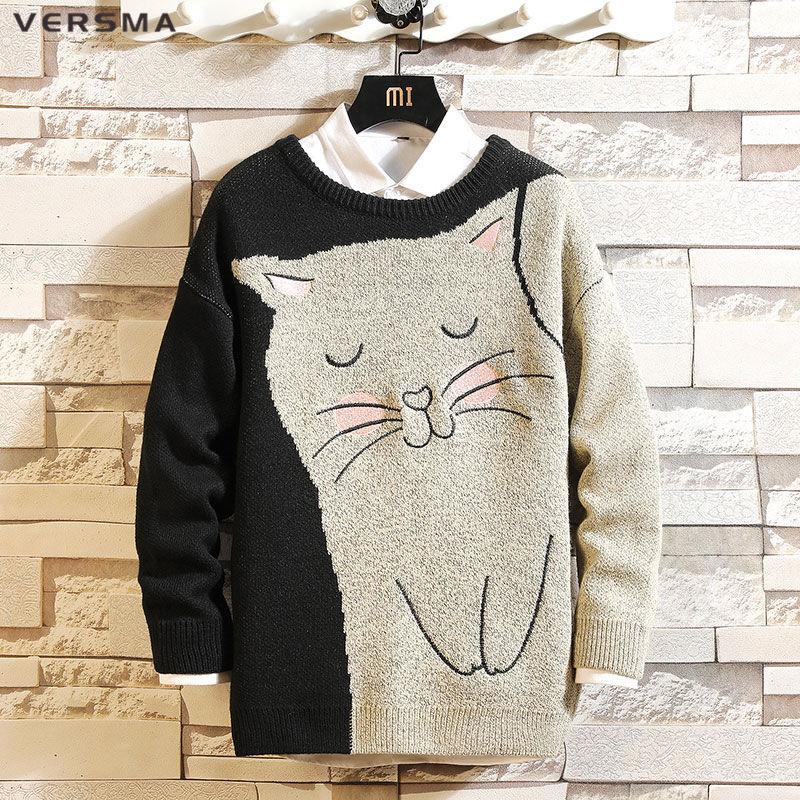 VERSMA Japanese Harajuku Cartoon Cat Print Sweater Men Women Autumn Loose Vintage Knitted Christmas Sweaters Men Large Size 5XL