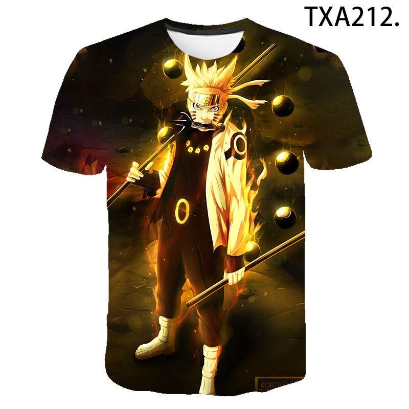 2021 novo naruto 3d camiseta casual das crianças das mulheres dos homens moda verão meninos meninas crianças impresso camiseta anime dos desenhos animados legal topo