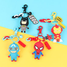 2020 DC Marvel The Avengers Keychain Cartoon Captain America Batman Key Chains Phone Bag Cute Iron Man Spider Man Key Ring Chain(China)