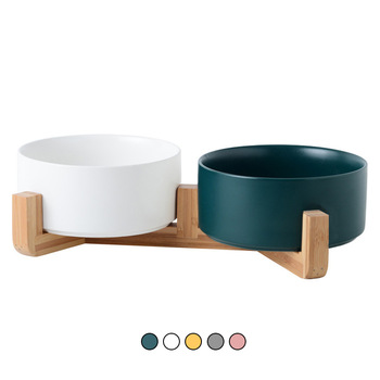 Ceramic Double Cat Bowl Dog Bowl Pet Feeding Water Bowl Cat Puppy Feeder Product Supplies Pet Food And Water Bowls For Dogs