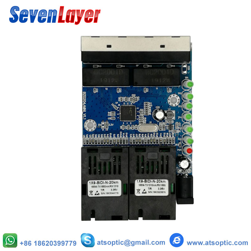 Ethernet Switch  Fiber Optical Media Converter Single Mode 4 RJ45 And 2 SC Fiber Port 10/100M PCBA