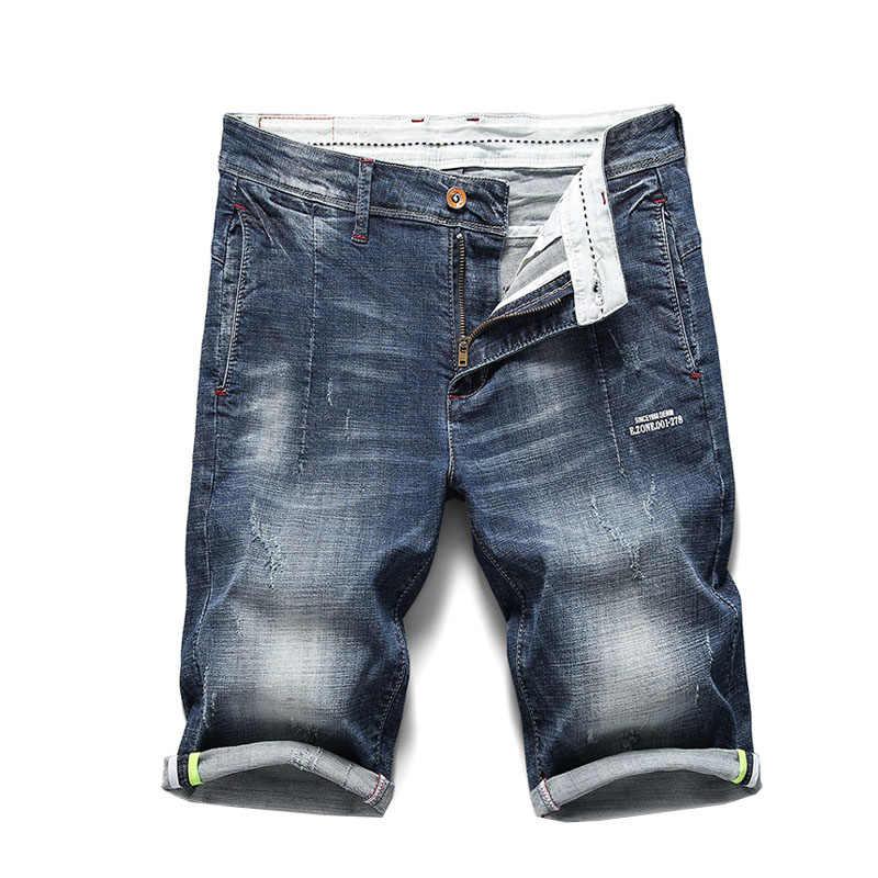 KSTUN Männer Jeans Shorts Ripped Stretch Slim Fit Trendy Denim Kurzen Streetwear Hiphop Distressed Ausgefranste Männlichen Biker Moto Jeans 38