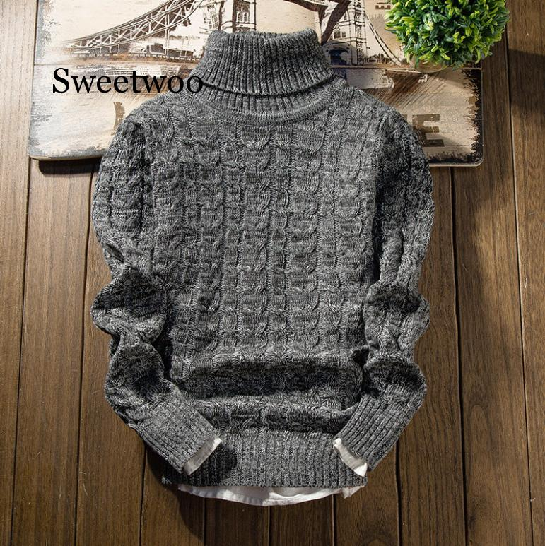 Autumn and winter men warm turtleneck Korean version repair round collar youth clothing winter thick knitted sweater