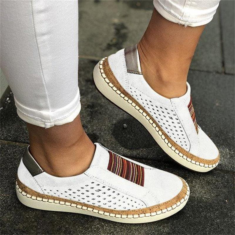 2020 Hollow Out Women's Shoes Hand-stitched Striped Breathable Elastic Band Casual Flat Suitable for Wide Leg Women's Sneaker