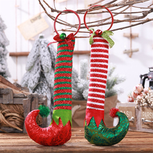 Xmas New Year Christmas decorations for home DIY Iron ring elf boots pendant Creative foot ornaments Childrens gift hang