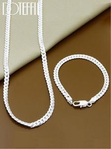 Jewelry Link-Chain-Sets Bracelet Necklace Wedding-Gift 925-Sterling-Silver Full-Sideways