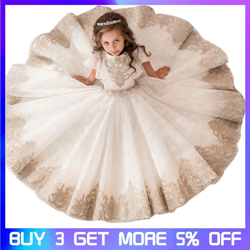 Filles robe filles robes de fête Palace rétro dentelle châle filles Tutu fleur fille mariage princesse robe enfants robe pour les filles