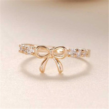 Hot Sale Inlaid  Rhinestone Alloy Butterfly Knot  Closed  Ring For Women Party  Index  Finger Ring Jewelry Accessory Gifts