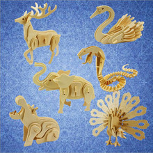 цена на DIY Kids 3D Wooden Puzzles Animal  Model Assembling Building Kits Educational Toys for Children