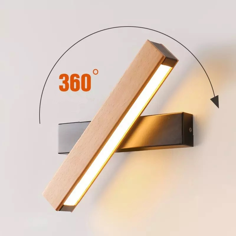 Nordic simple Wooden LED Wall Lamp Modern Adjustable Lighting bar restaurant Living room Porch Wall Lamps Corridor decor|Wall Lamps| |  - title=