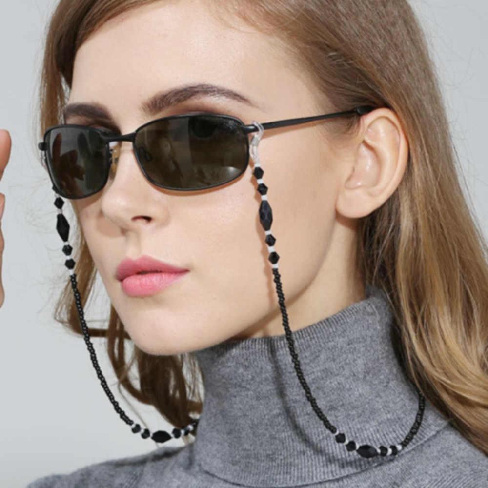 ผู้หญิงแฟชั่นแว่นตาโซ่สีดำอะคริลิคลูกปัดโซ่ Anti-SLIP แว่นตาสายไฟสายคล้องคอแว่นตาเชือก