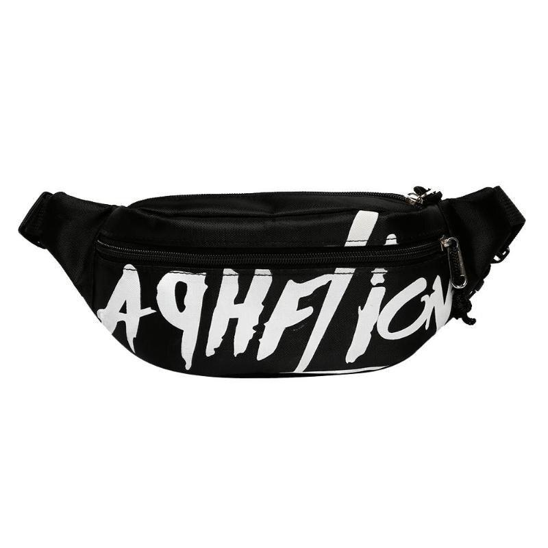 Girls Boys College Style Waist Pack Casual Canvas Belt Bag Bolsas Soft Handbag Zipper Chest Bags Street Messenger Crossbody Bag