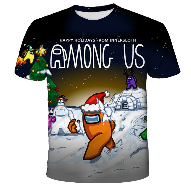 Boys Among Us Game T Shirt Kids 3D Print Cartoon Red T-Shirt Funny For Girls Child T-Shirt Children Clothes Tops Baby Tshirts-3