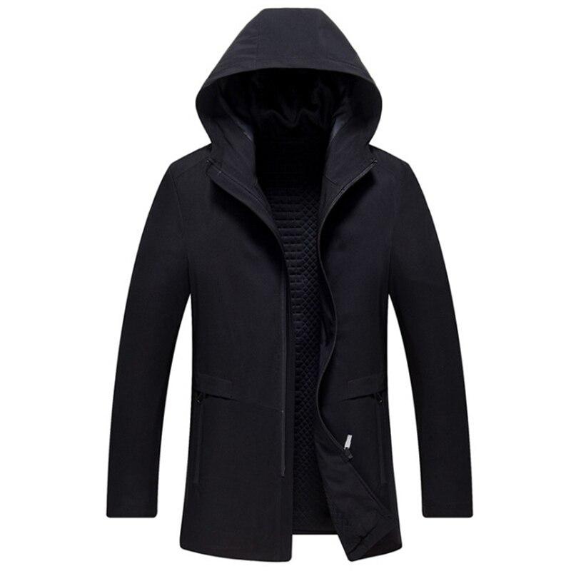 2019 New Brand Long Hooded Trench Coat Men Thicken Jackets & Coats Spring Zipper Mens Windbreaker Casual Overcoat