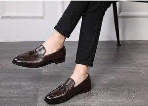 Image 5 - Mannen Kantoor Casual Schoenen Mannen Formele Klassieke Kwastje Slip Op Loafers Schoenen Man Dress Schoenen Business Party Schoenen Zapatos De hombre