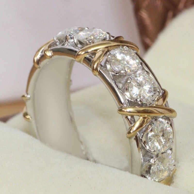 2019 หรูหราหินคริสตัลแหวนผู้หญิง Sliver สีงานแต่งงานแฟชั่น sliver แหวนนิ้วมือเครื่องประดับ drop shipping