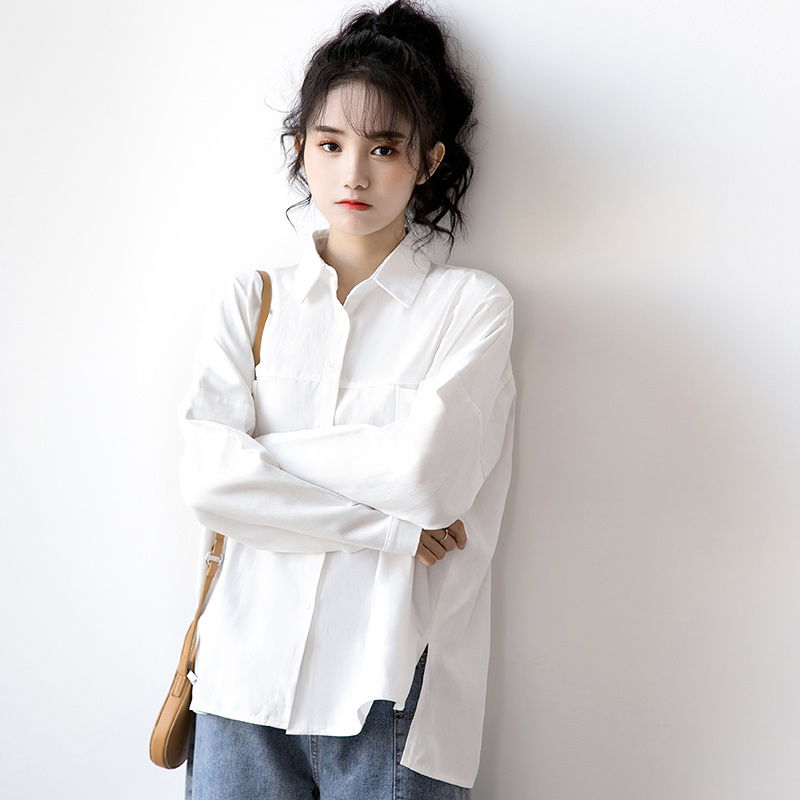 Women Shirts 2020 Spring Street Style Casual Lapel Long Sleeve Oversize Loose Tops With Pockets Female Tide Cotton White Blouse