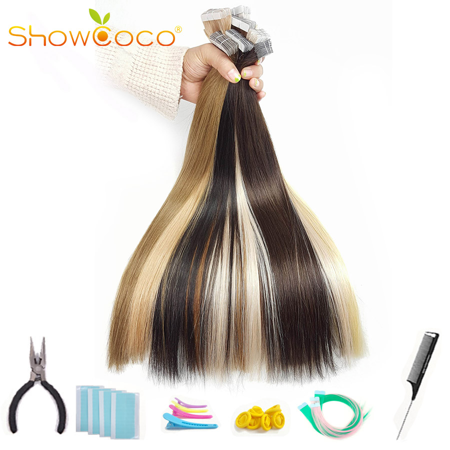 Showcoco Virgin Hair Tape In Human Hair Extensions From One Donor Cuticle Intact Adhesive White Tape Hair Highest Quality 20pcs