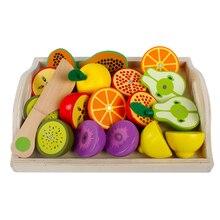 Set di giocattoli da frutta in legno finto da cucina per bambini Montessori Learning giocattoli educativi Girls Play House Series Classic Game Gift