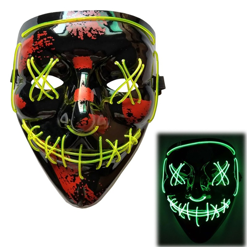 dropshipping Fashion Unique Portable Halloween Fluorescent Fake Luminous Party Plastic Material Mask in Party Masks from Home Garden