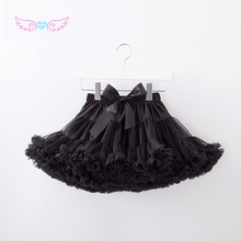 Princess Skirt Tutu Satin Chiffon Fluffy Black Cute Girls High-Quality Wears Dance Hot