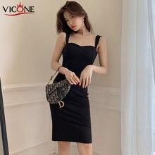 Vicone черное сексуальное облегающее платье Лето 2020 без бретелек