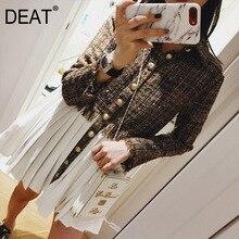 DEAT осень и зима новые продукты Мода ретро Высокий воротник однобортное платье с длинным рукавом женское PA730