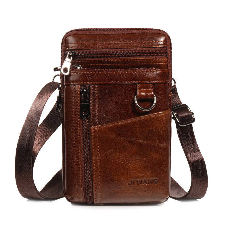 Brand Genuine Leather Casual Men Shoulder Messenger Bag Men's Belt Cross Waist Fanny Pack 7' Cell Phone Pouch Wallet Bags