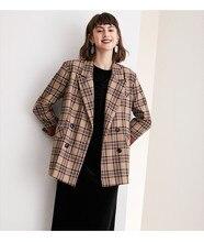 Terno xadrez casaco curto terno colarinho duplo breasted xadrez britânico curto casaco feminino wear