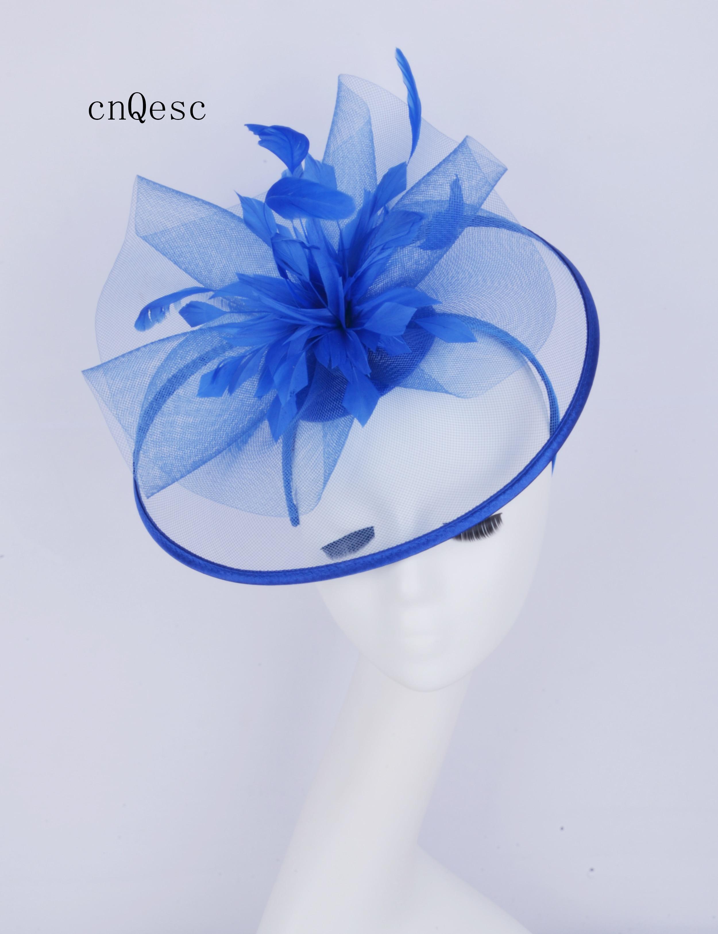 2019 grand bleu Crin fascinator derby chapeau dames robe formelle chapeau w/plumes