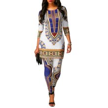 White African Sets Dashiki 2 Two Piece Set Women Set Fashion Printed Ladies Office Women Bodycon Pants Suits 2 PCS African Suit(China)
