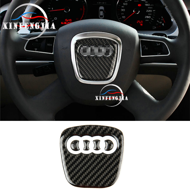 For Audi A3 A4 B8 A5 A6 C7 A8 Q5 Q7 5pcs Carbon Fiber Steering Wheel Center trim image