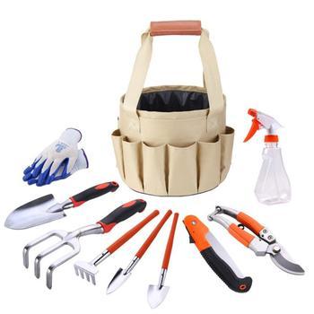 10 Piece Garden Tools Set with Heavy Duty Garden Han- Gardening Tools with Garden Gloves and Garden Tote - Gardening Gifts Tool