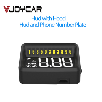 VJOYCAR VH60 Car OBD2 Display Head Up HUD Gauge with Sunshine Hood Cell Phone Number Sticker Overspeed Alarm Simple is Best image