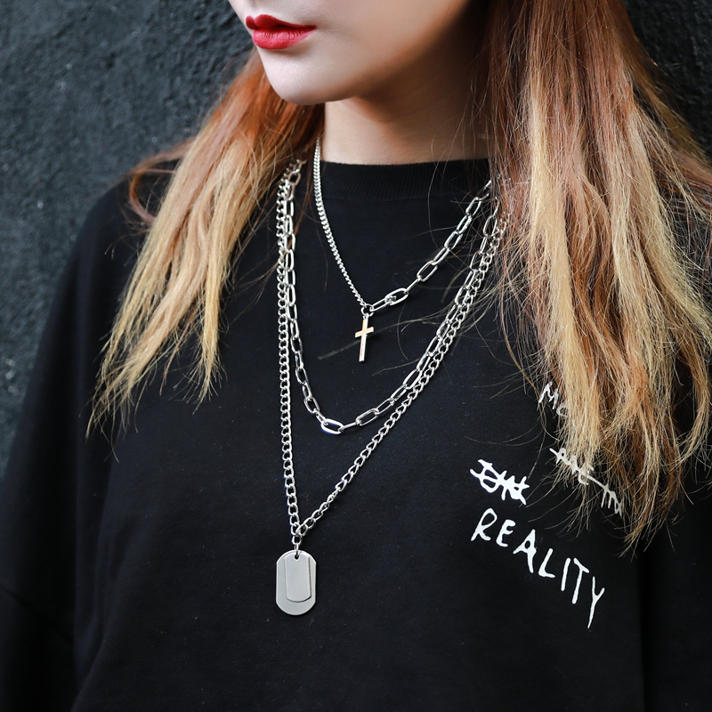 Hc6688a642981498ca771c5e10dbd2ca7n - Zoeber Multi-Layer Long Chain Necklace Punk Cross Pendant Necklace for Women Men Metal Silver Chains Hip Hop Goth Jewelry Gifts