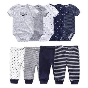 Image 5 - Ensemble unisexe body et pantalon pour bébé, tenue en coton uni, pour garçon et fille de 0 à 12 mois, collection 2020
