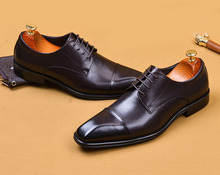 QYFCIOUFU Italian Genuine Cow Leather Brogue Business Wedding Shoes Men Casual Flat Shoes Vintage Handmade Oxford Formal Shoes