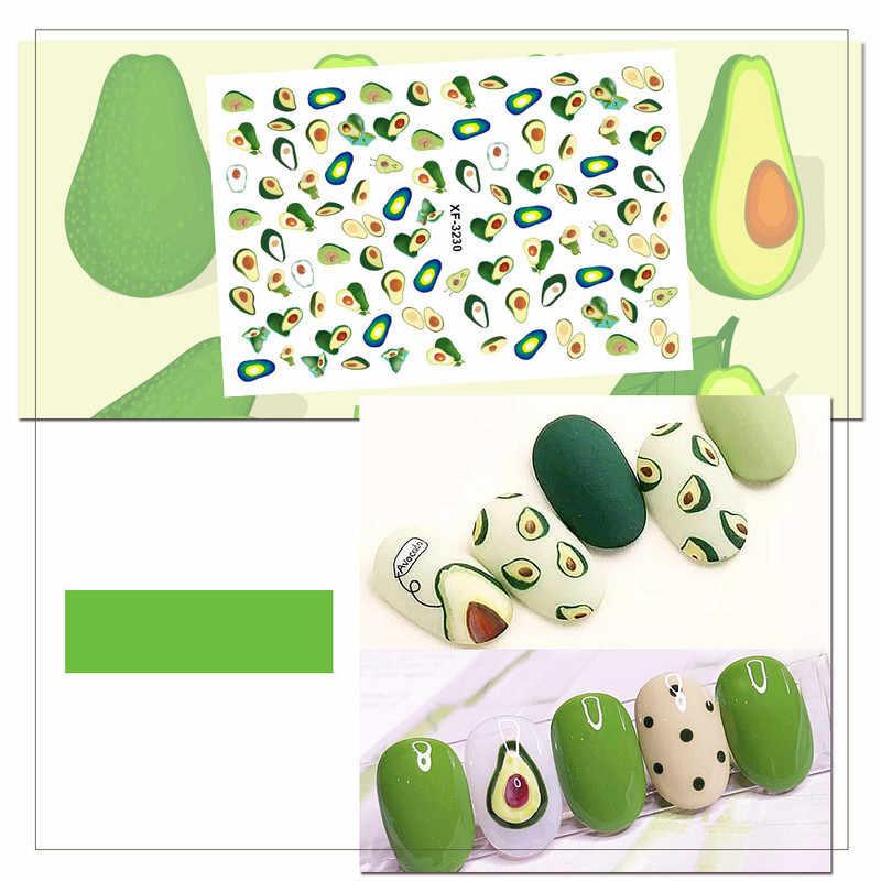 Adesivos para arte de manicure, adesivos de manicure para arte em unhas, frutas e abacate