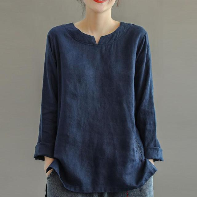 Johnature Autumn New Retro Embroidery O-neck Long Sleeve Cotton Linen Shirt Loose Leisure Fashion All-match Women Tops