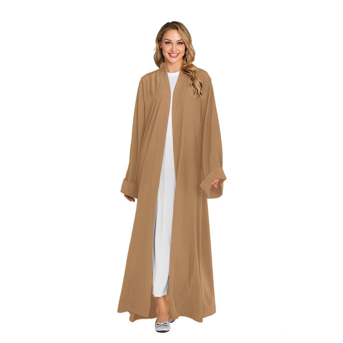 Solid Kimono Open Abaya Dubai Kaftan Muslim Hijab Dress Abayas Robe Africaine Femme Caftan Turkish Islam Clothing Oman For Women Women Women's Abaya Women's Clothings