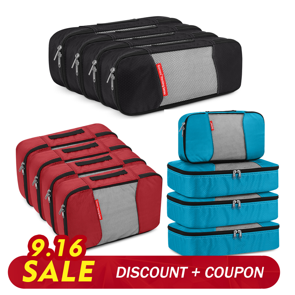 Gonex 4PCS/SET Travel Storage Bag Set 19/24inch Luggage Suitcase Organizer Ziplock Mesh Nylon Pouch Clothes Shoes Packing Cubes